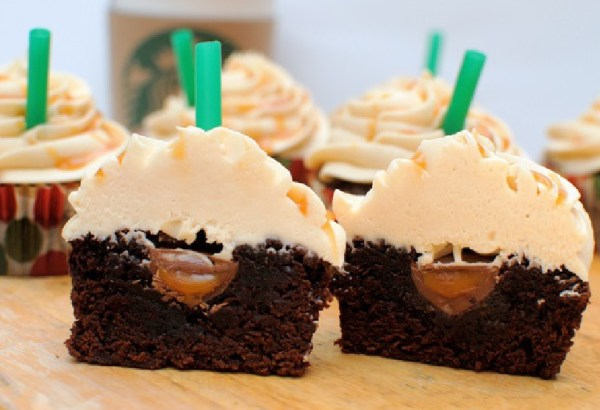 Salted Caramel Mocha Brownie Cupcakes