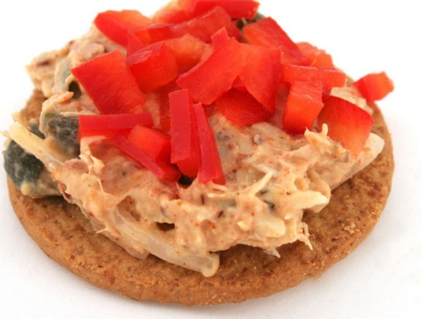Digestive Biscuits, Tuna Salad, and Chopped Red Bell Pepper