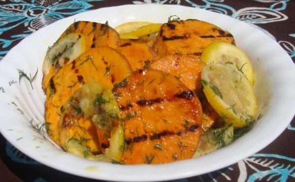 Grilled Sweet Potatoes With Lemon and Dill