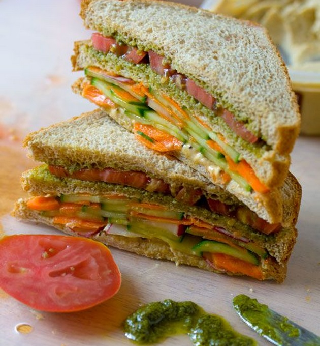 Roasted Carrot Sandwich with Hummus