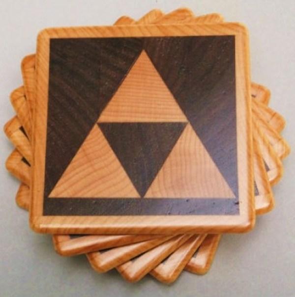 Zelda: Wooden Triforce Drink Coasters