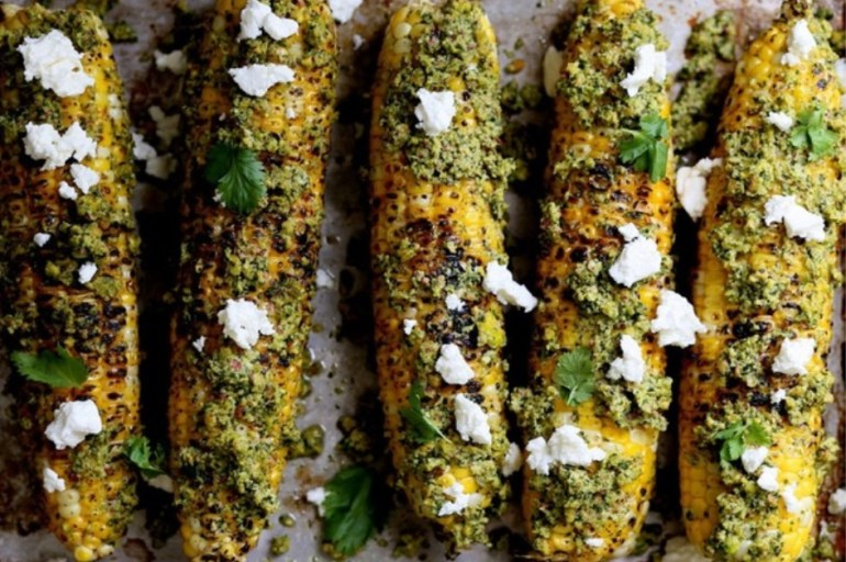 Pistachio Cilantro & Lime Rub Corn On The Cob