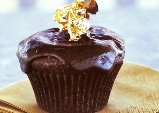 Gold Leaf Chocolate Cupcakes