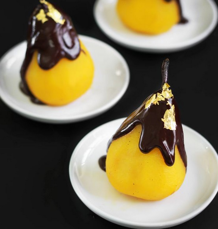 Gold Saffron Poached Pears & Chocolate