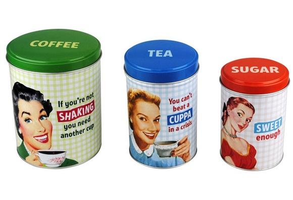 Retro Advert Tea, Coffee And Sugar Sets