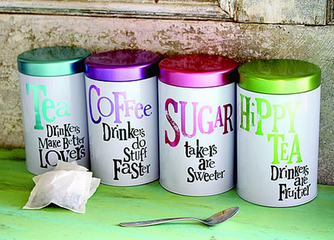 Brightly Coloured Slogan Tea, Coffee And Sugar Sets