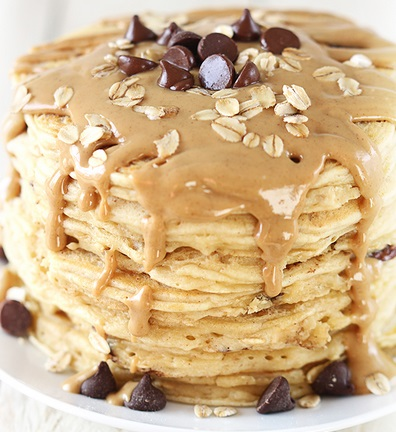 Peanut Butter & Chocolate Oat Pancakes