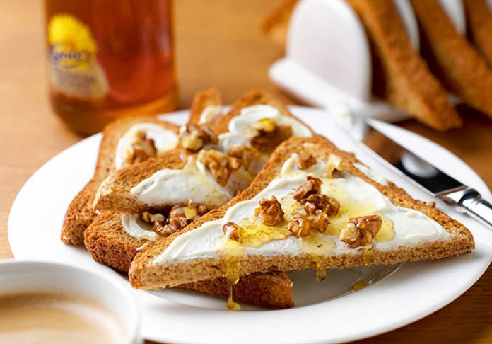 Flaked Almonds, Honey & Cream Cheese on Toast