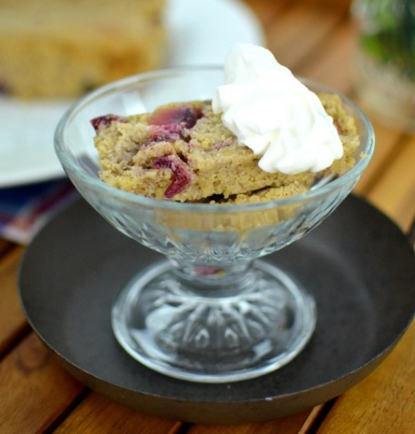 Plum and Dried Cranberry Indian Pudding