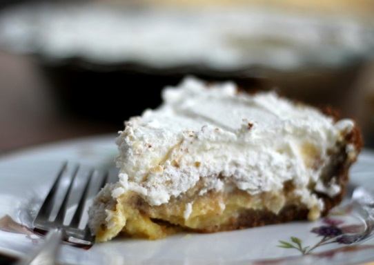 Lemon Cream Pecan Gingersnap Pie
