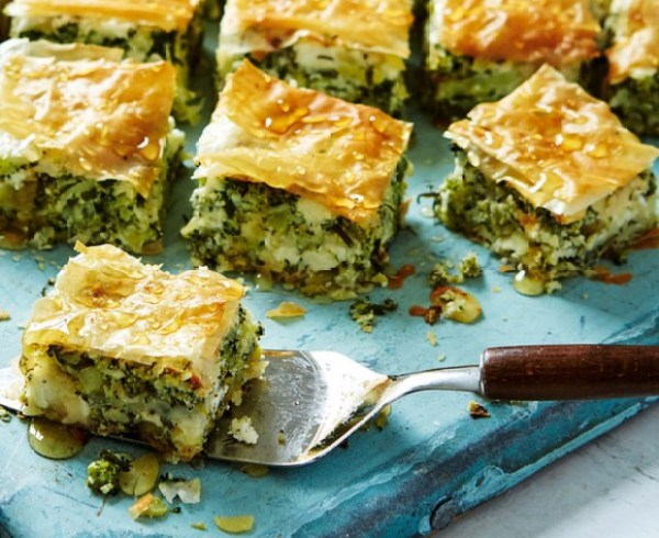 Broccoli, Feta And Almond Baklava