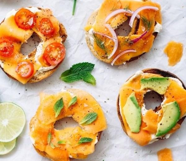 Papaya Lox With Lemon Cream Cheese on Bagels