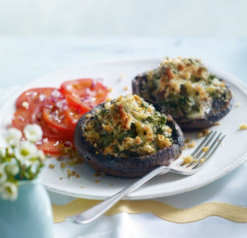 Spinach And Walnut Stuffed Mushrooms