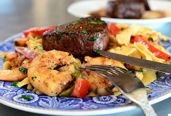 Surf and Turf: Beef Filet And Shrimp Cajun Pasta
