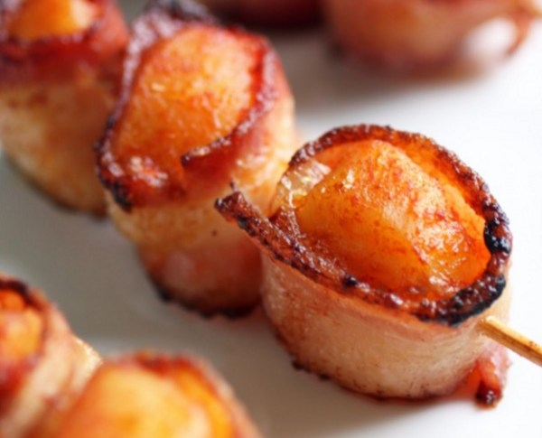 Bacon Wrapped Baked Scallops