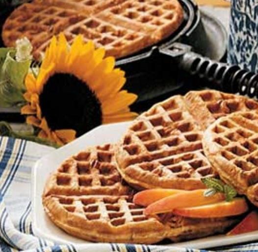 Traditional Oatmeal Nut Waffles