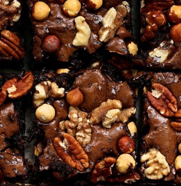 Nutty Dark Chocolate Fudge Brownies