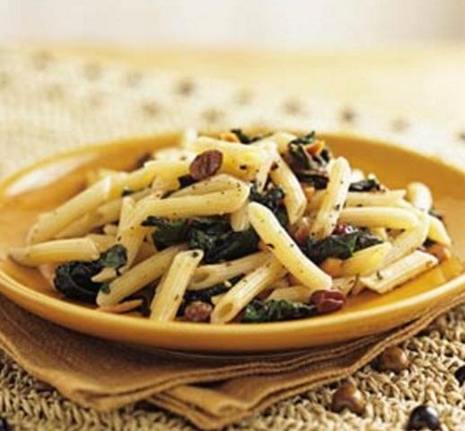 Pasta with Beet Greens and Raisins