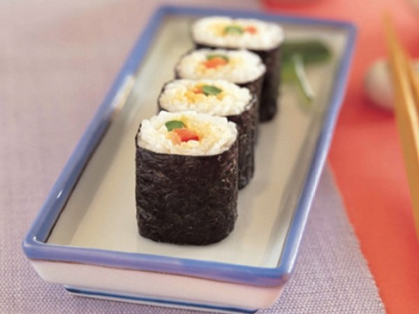 Asparagus and Sweet Red Pepper Sushi Rolls