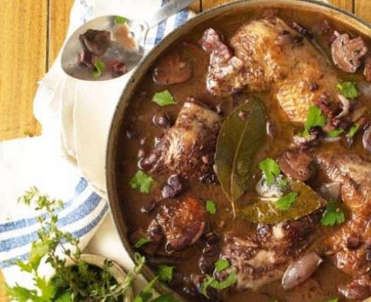 Slow cooked Coq au Vin