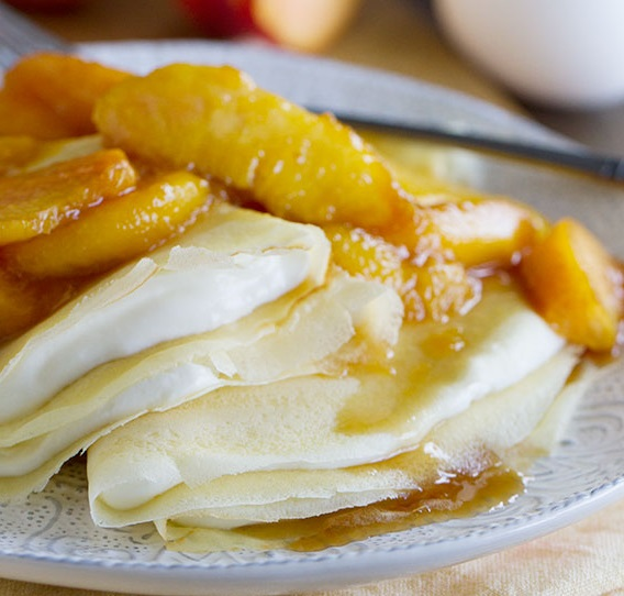 Peaches and Cream Crepes