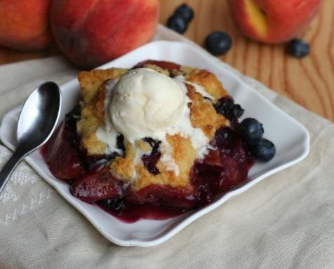 Peach & Blueberry Ice Cream Cobbler