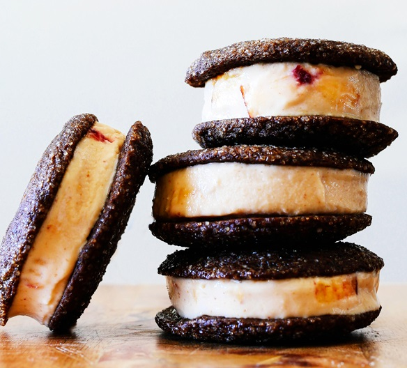 Peach Gingersnap Ice Cream Sandwichs