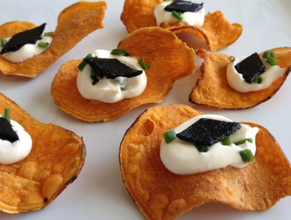 Pressed Caviar on Sweet Potato Chips