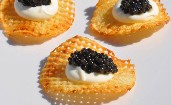 Duck Fat Potato Chips with Caviar