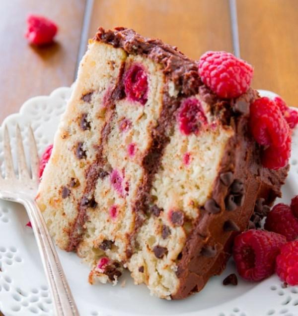 Raspberry Chocolate Chip Layer Cake