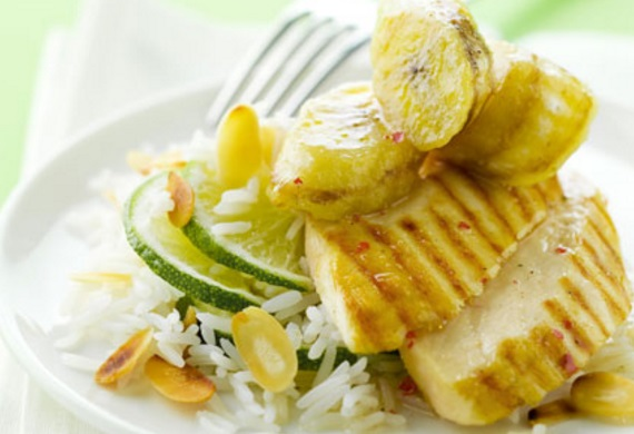 Grilled Chicken, Bananas and Rice