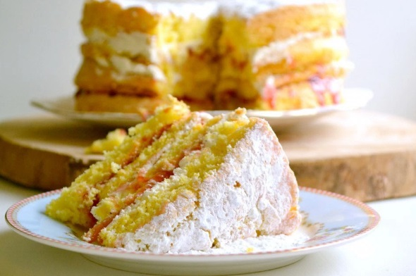 Plum Jam & Cream Sponge Cake