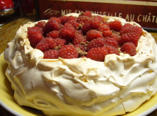 Raspberries in Cream Pavlova