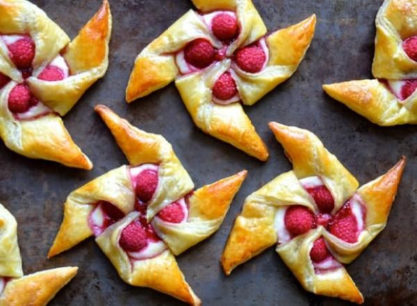 Raspberries in Cream Pinwheel Pastries