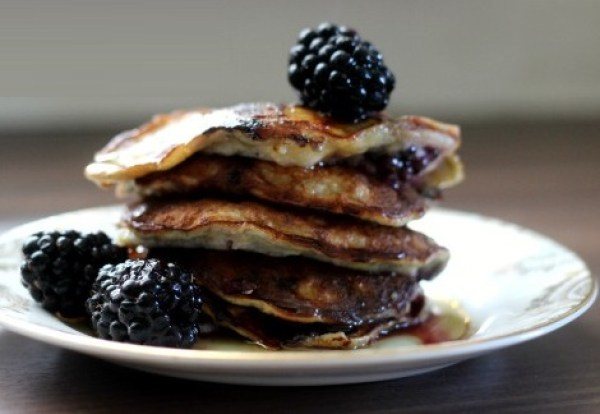 Banana and Blackberry Pancakes