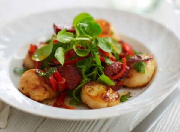 Pan Fried Scallops With Warm Chorizo