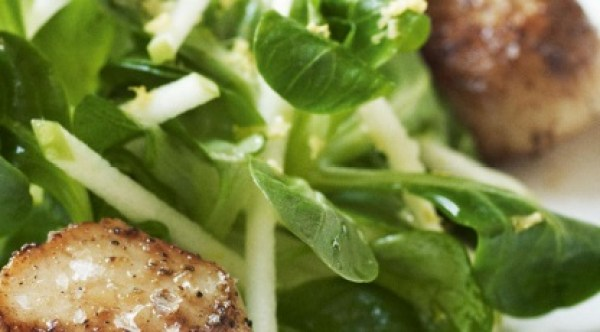 Pan-fried Scallops With Crunchy Apple Salad