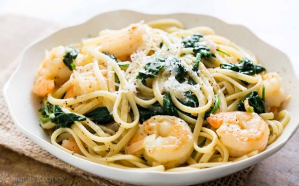 Shrimp, Lemon, Spinach Linguine