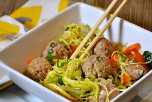 Zucchini Noodles and Meatballs