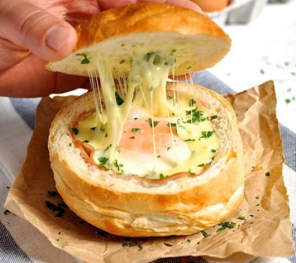 Egg Filled Bread Bowl