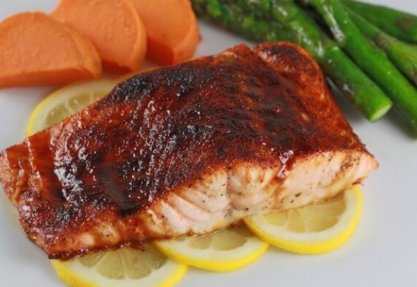Broiled Molasses Glazed Salmon