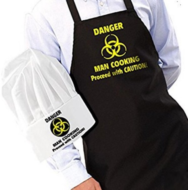 """""""Danger: Man Cooking"""" Novelty Apron and Chef's Hat Set"""
