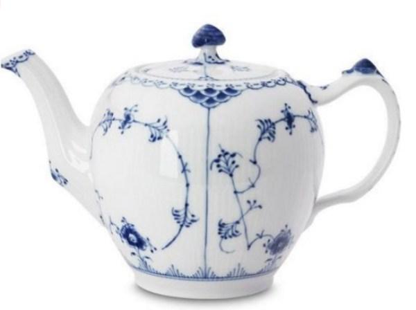 Blue Fluted Half-Lace Teapot