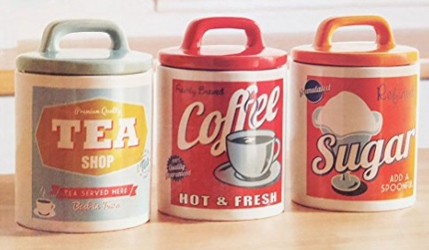 Retro Style Coffee, Tea & Sugar Canisters