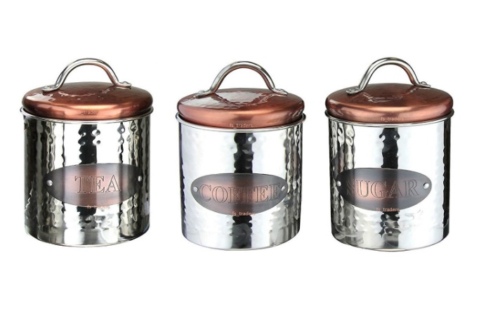 Copper Coffee, Tea & Sugar Canisters