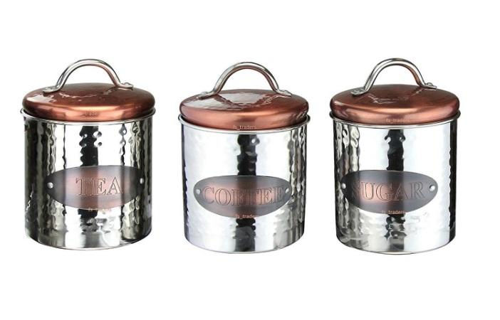 Copper Coffee, Tea U0026 Sugar Canisters