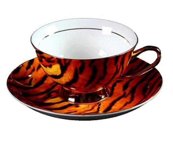 Tiger-Print Tea Cup and Saucer