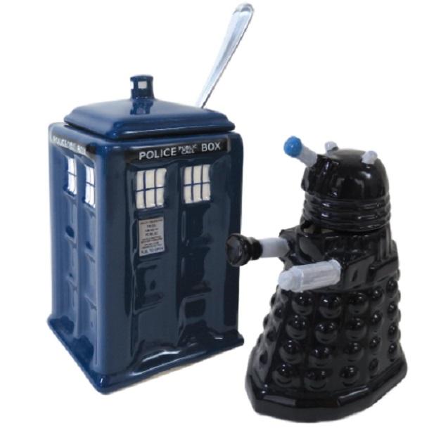 Doctor Who Tardis & Dalek Creamer & Sugar Bowl