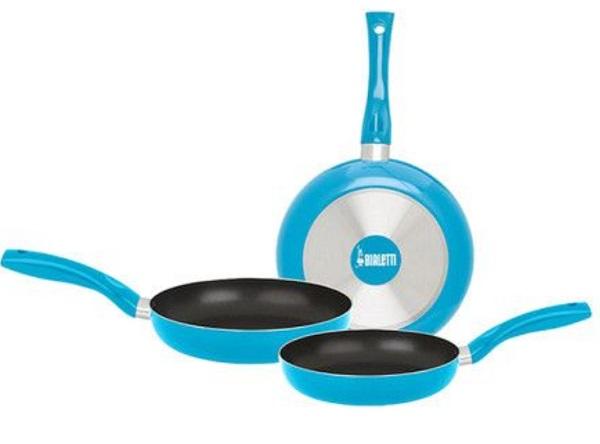 Bialetti Pan Three-piece Turquoise Fry Pan Set