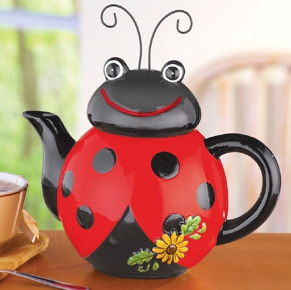 Ladybird Shaped Ceramic Kitchen Teapot